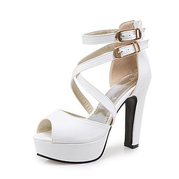 New women sandals platform shoes open toe high quality high heels open toe solid color prom wedding shoes