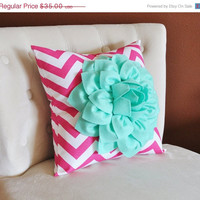 MOTHERS DAY SALE Mint Green Dahlia on Hot Pink and White Zigzag Pillow -Flower Chevron Pillow- Baby Nursery Decor