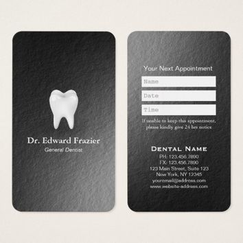 Modern Black White Dental Care Dentist Appointment Business Card