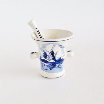 Delft Blue Mortar Pestle Hand Painted Ikla Holland