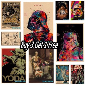 vintage poster Star wars movie retro poster kraft paper wall sticker Bar Cafe living room