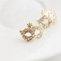 niceEshop 1 Pair of Bohemia Style Gold Plated Crystal Rhinestone Party Mask Ear Stud