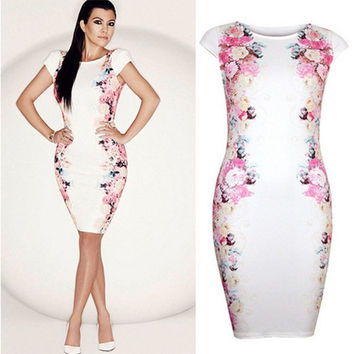 women formal short-sleeve  white dress one-piece dress Print Floral large size dress LJ040QAF = 1956874436