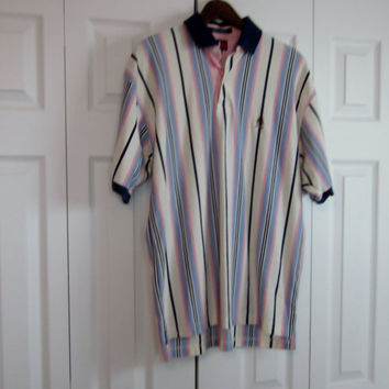 Vintage Tommy Hilfiger Polo Shirt Mens M Medium Short Sleeve Pink and Blue Stripe Collared Sport Shirt