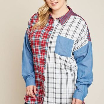 Mommy & Me Hayden Women's Long Sleeve Button Mixed Plaid Top