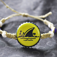 Blue and Yellow Landshark Recycled Beer Cap Hemp Adjustable Bracelet #summer