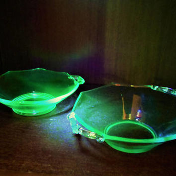 Pair Uranium Glass Bowls, Decorative Handled Vaseline Glass Candy Dishes, Blacklight Reflective Bowls, Octagon Depression Glass Bowls