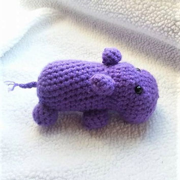 Crochet Hippo, Amigurumi Hippo, Crochet Toy,  Stuffed Animal, Handmade Plush, Nursery Decor, Purple Hippo Toy, Baby Shower Gift