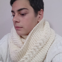 Ivory winter scarf, mens infinity scarf, cable infinity scarf, handmade scarf Neckwarmer, knit hat for him, christmas gift idea