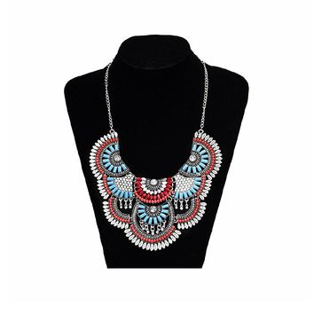 Tribal Boho Statement Colorful Necklace