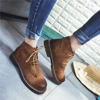 Color Block Round Toe Lace Up Flat Ankle Martin Boots