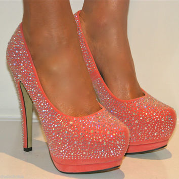 LADIES CORAL RHINESTONE PLATFORM SHOE STILETTO HEELS PROM EVENING SIZES 3-8 c50f1fe7c