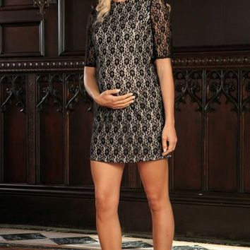 Black Lace Elbow Sleeve Shift Cocktail Party Dress