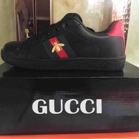 GUCCI Fashion Women Men Small Bee Embroidery Sport Shoes Sneakers Black B-A-HYSM