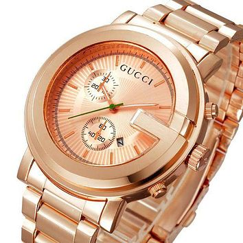 GUCCI Watch Golden Fashion Women Men Double Face Logo Gucci Watch G