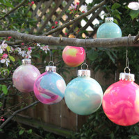 Sky Blue, Hand Painted Glass Ornament,  glow in the dark paint, OOAK