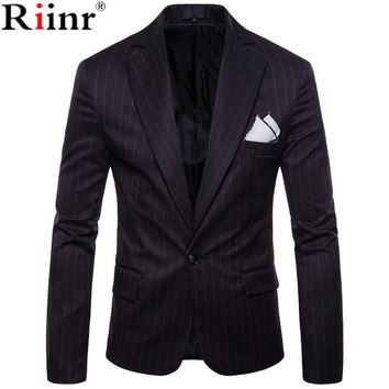 New Arrival Fashion Blazer Men Casual Jacket Solid Color Cotton Men Blazer Jacket Men Classic Men Suit Jackets Coats