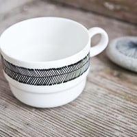 "One of a kind: Hand-painted vintage tea cup ""somewhat angular"", black and white"