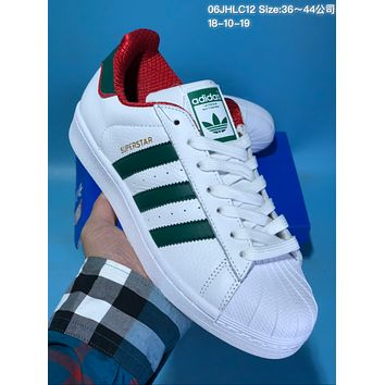kuyou A302 Adidas Superstar Casual campus style fashionable comfortable trend joker low help sports shoes White Green