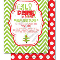 Green and White Chevron Christmas Party Design Printable invitation