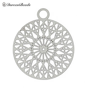"Filigree Stainless Steel Charm Pendants Round Silver Tone Flower Hollow Carved 22mm( 7/8"") x 18mm( 6/8""),2 PCs 2016 new"