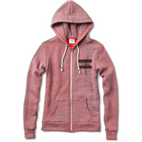 Women's Reverse Heather Brick Red Dyed Fleece Zip Up Hoodie