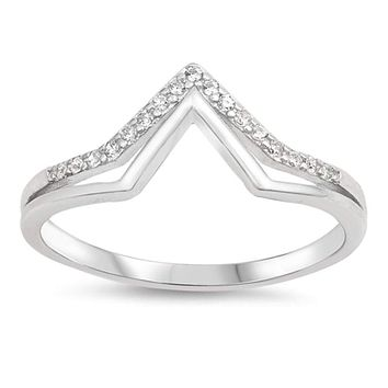 Sterling Silver Pointed Tip Double Row Cubic Zirconia Ring