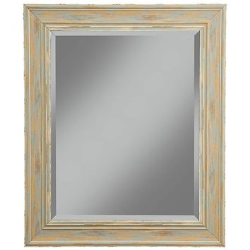 Polystyrene Framed Wall Mirror With Sharp Edges, Antique Turquoise Blue