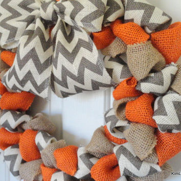 Burlap Wreath, Wreaths, Chevron Burlap, Fall Wreath, Autumn Wreath, Big Bow, Chevron Bow, Door Decor, Wreath For Door, Wreath