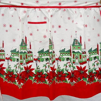 Vintage Apron Christmas Linens Snowman with Houses Mint Sz. L