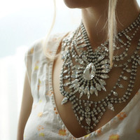 Madame Bovary - Stunning crystal clear Swarovski rhinestones statement necklace - ready to ship
