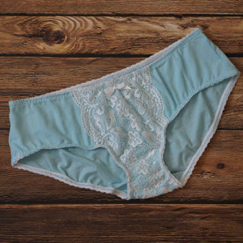 Blue Cotton Bridal Panties, Cotton Panties, Blue Panties, Lace Panties, Sky Blue Panties, Something Blue Bridal Panties, Handmade Panties