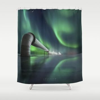 Aurora Borealis Industri Shower Curtain by lostanaw