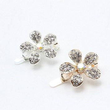 1pc Fashion Bridal magnet clasp Gold Silver Hairpin Crystal Flower Trendy Hair Clip Wedding Hair Jewelry Accessories A8-7