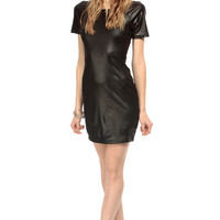 Black Faux Leather Mini Body Con Dress