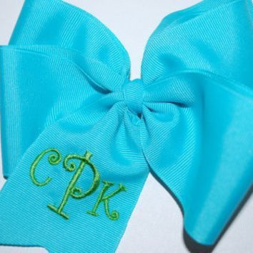 Embroidered Monogram Hair Bow Big Boutique Initials Personalized