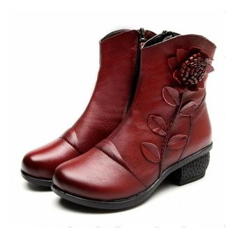 DCK7YE Women Vintage Handmade Flower Genuine Leather Ankle Boots Mid Square Heels Casual Shoe
