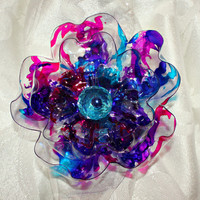 Turquoise, Cobalt Blue, Pink and Purple Scarf Magnet and Brooch, flower, recycled plastic