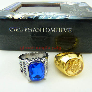 Black butler Kuroshitsuji Ciel Phantomhive Cosplay 2 Ring Set New
