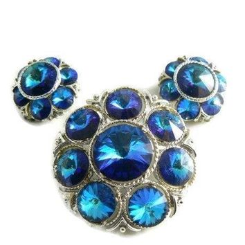 Blue Green Margarita Rivoli Glass Rhinestone Demi Parure