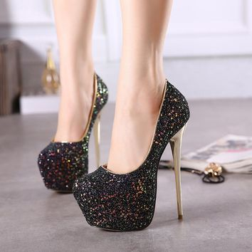 Crystal Round Toe Platform Super High Stiletto Heels Party Shoes