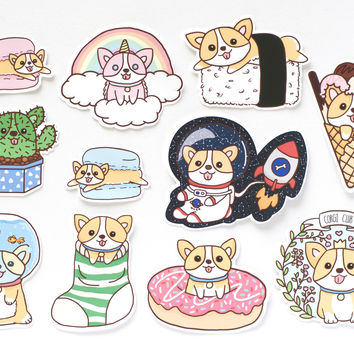 Cute Corgi Stickers (Set of 11 Stickers)