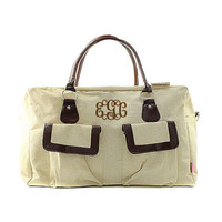 Monogrammed Designer Inspired Fashion Jute Weekender Duffel Travel Bag