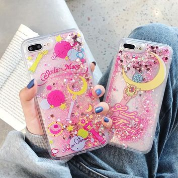 Cartoon Flower Sailor Moon Pretty Girl Glitter Star Flowing Quicksand Liquid Case for iPhone X XS MAX XR 6 6S 7 8 Plus Cover