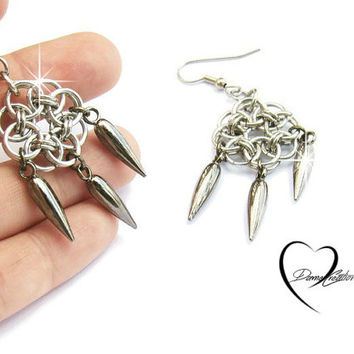 Chainmaille Earrings - Helm Chainmail - Spike Earrings - Dreamcatcher Earrings