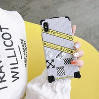 Off White SuitCase Style Case - Yellow
