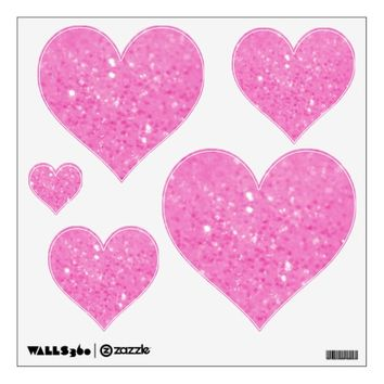 Pink Glitzy Look Heart: Wall Decals