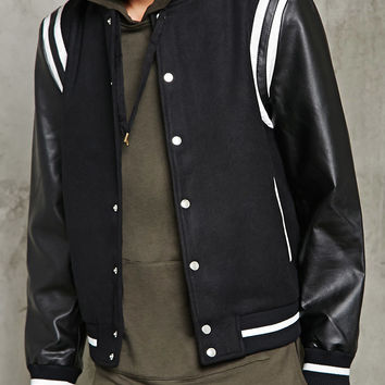 Woolen Two-Tone Bomber Jacket