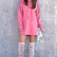 Lace Up Sweatshirt Dress - Mauve