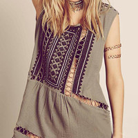 Grey Boho Embroidery Cut Out Mini Dress